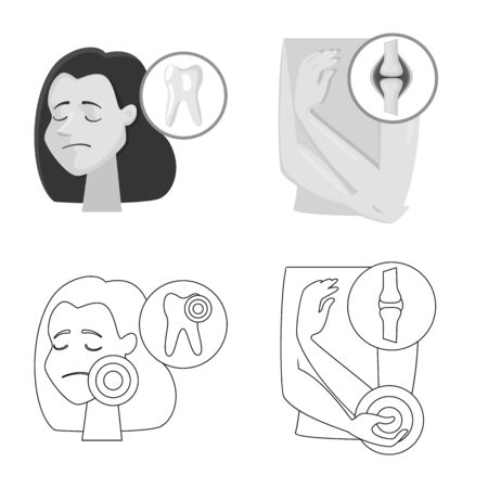 Vector design of hospital and rendering icon. Set of hospital and help vector icon for stock.