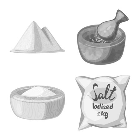 Vector illustration of salt and food logo. Set of salt and mineral stock symbol for web. Ilustração