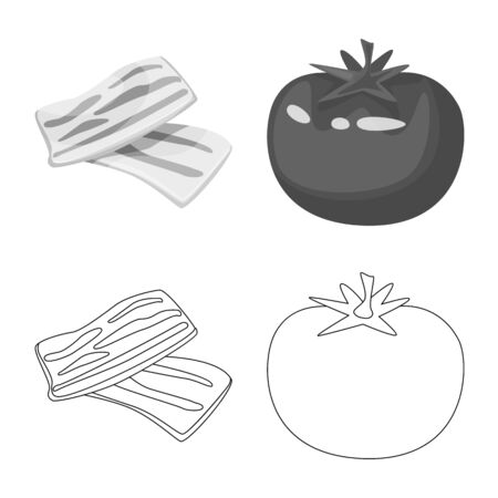 Isolated object of taste and product logo. Collection of taste and cooking stock symbol for web.