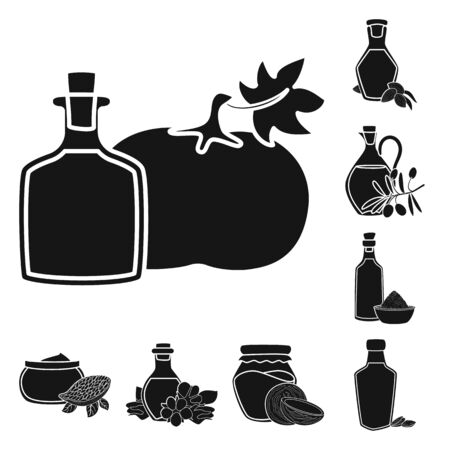 Vector illustration of oil and agriculture icon. Set of oil and glass vector icon for stock.