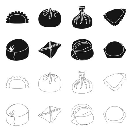 Vector illustration of products and cooking sign. Set of products and appetizer stock symbol for web.