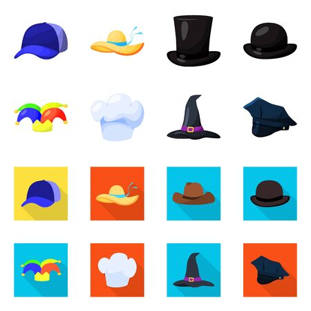 Isolated object of clothing and cap sign. Collection of clothing and beret stock symbol for web. Ilustrace