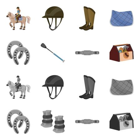 Isolated object of equipment and riding icon. Collection of equipment and competition stock vector illustration.