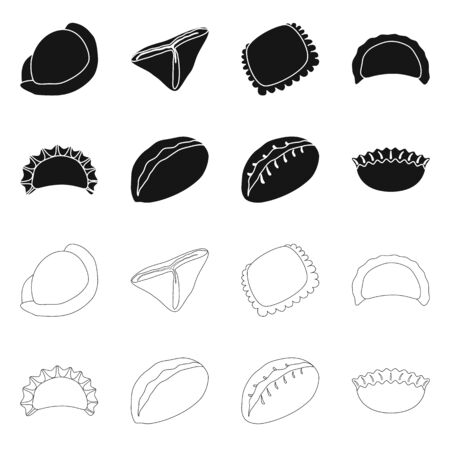 Vector illustration of products and cooking symbol. Collection of products and appetizer stock vector illustration.