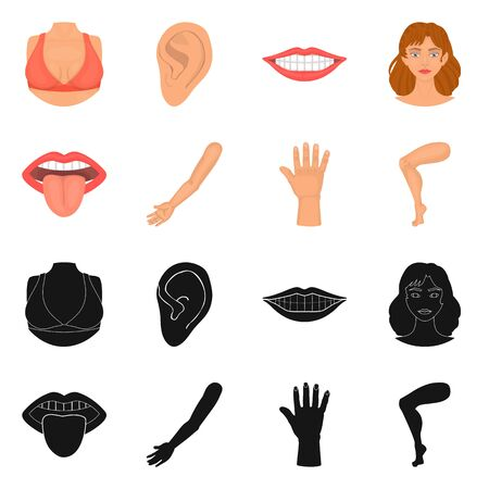 Isolated object of body and part icon. Collection of body and anatomy vector icon for stock.  イラスト・ベクター素材