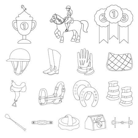 Vector illustration of horseback and equestrian logo. Set of horseback and horse vector icon for stock. Illusztráció