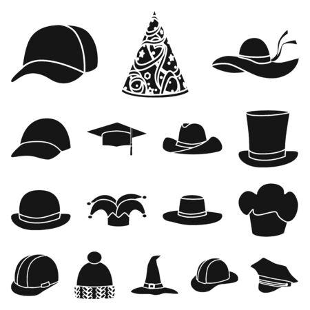 Vectorillustratie van muts en baret symbool. Set van muts en napper aandelensymbool voor web.