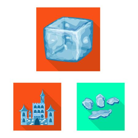 Isolated object of texture and frozen sign. Set of texture and transparent vector icon for stock. Illustration