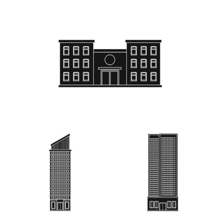 Vector illustration of modern and estate . Set of modern and building stock symbol for web.
