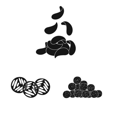 Isolated object of party and cooking sign. Set of party and crunchy vector icon for stock.