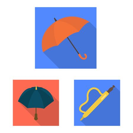 Vector design of protection and closed . Collection of protection and rainy vector icon for stock. Çizim