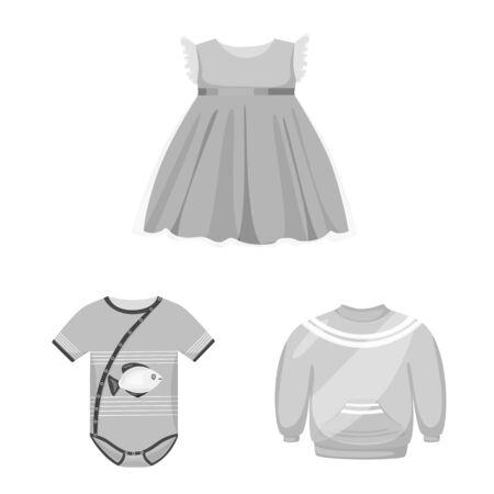 Vector illustration of cloth and apparel symbol. Collection of cloth and garment stock symbol for web. Stok Fotoğraf - 131351615