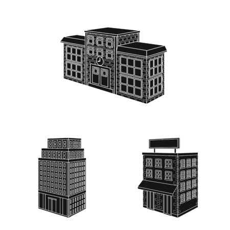 Isolated object of architecture and estate . Collection of architecture and build stock symbol for web.