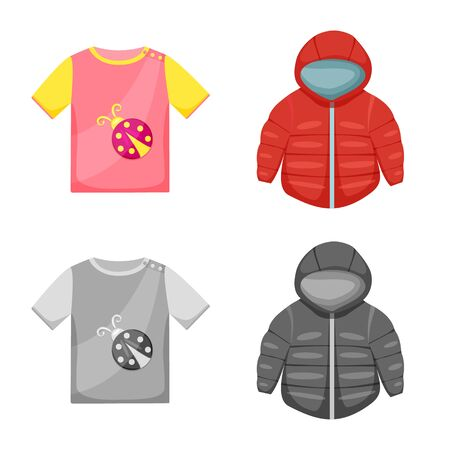 Vector design of fashion and garment icon. Collection of fashion and cotton vector icon for stock. Ilustração
