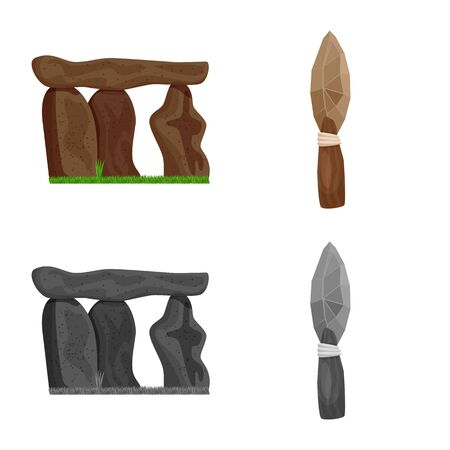 Vector illustration of evolution and prehistory . Collection of evolution and development stock vector illustration.