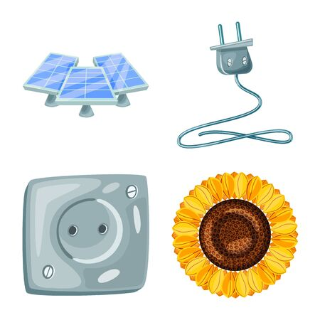 Vector illustration of and organic . Set of and Solar vector icon for stock.