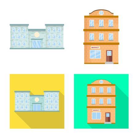 Vector illustration of municipal and center sign. Set of municipal and estate stock vector illustration. Çizim