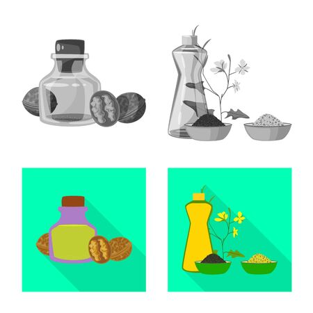 Isolated object of healthy and vegetable symbol. Collection of healthy and agriculture stock symbol for web. Çizim