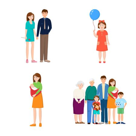 Isolated object of family and people . Collection of family and avatar stock vector illustration.
