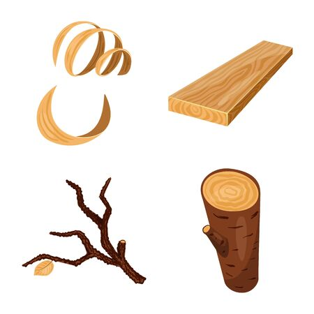 Vector design of signboard and wood sign. Collection of signboard and wooden stock symbol for web.