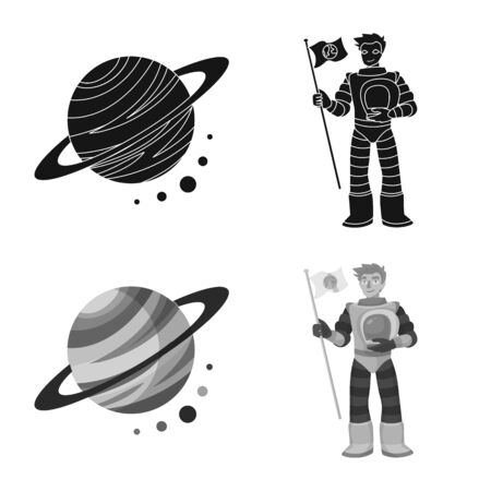 Vector illustration of astronomy and technology symbol. Collection of astronomy and sky stock symbol for web.