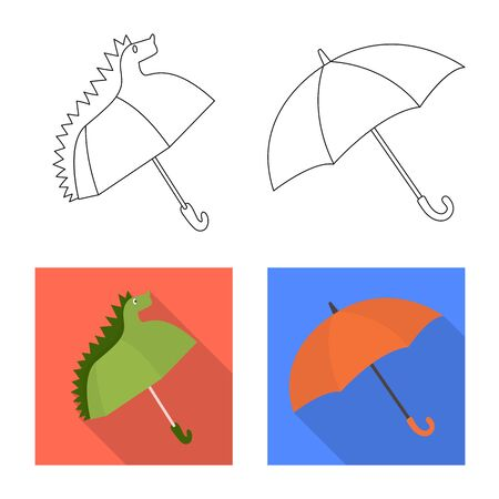 Vector illustration of protection and closed sign. Collection of protection and rainy stock symbol for web.