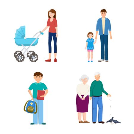Vector design of family and people symbol. Set of family and avatar stock symbol for web.