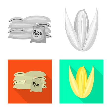 Vector illustration of crop and ecological icon. Set of crop and cooking stock symbol for web.