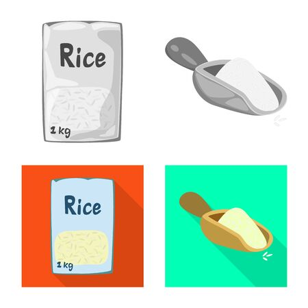 Vector design of crop and ecological sign. Collection of crop and cooking vector icon for stock.