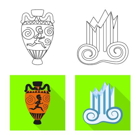 Vector illustration of story and items symbol. Set of story and attributes stock symbol for web.