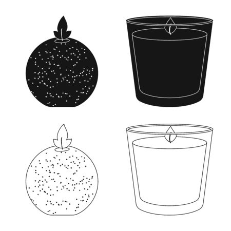 Vector illustration of relaxation and flame. Collection of relaxation and wax vector icon for stock.