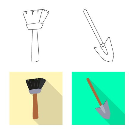 Vector illustration of story and items. Set of story and attributes stock symbol for web. Ilustrace