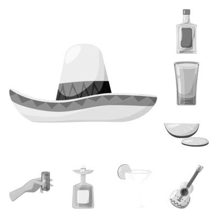 Vector design of fajita and fiesta icon. Collection of fajita and celebration vector icon for stock.