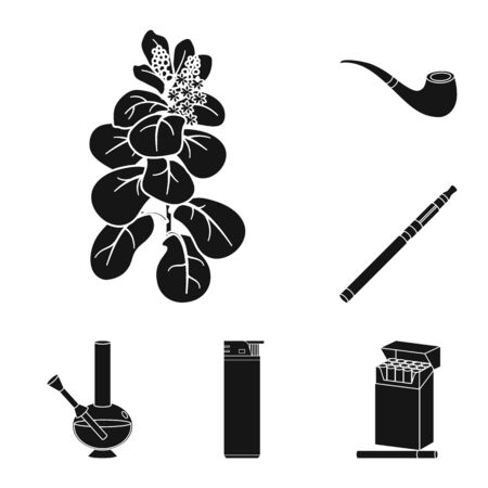 Vector illustration of anti and habit symbol. Set of anti and tobacco vector icon for stock.