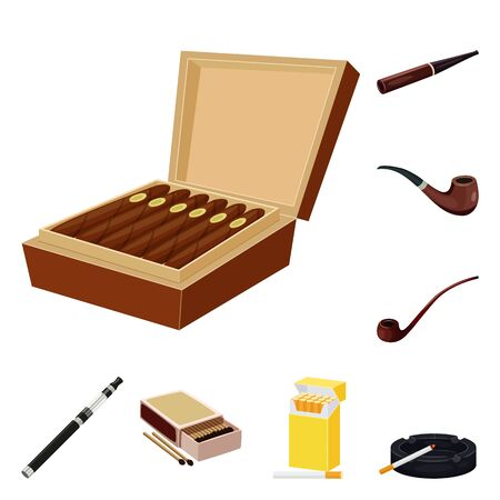 Vector illustration of cigarette and tobacco icon. Collection of cigarette and nicotine vector icon for stock.