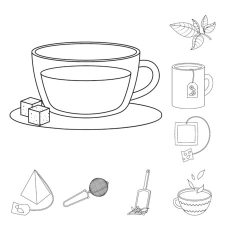 Vector design of food and natural symbol. Set of food and black vector icon for stock. Ilustracja
