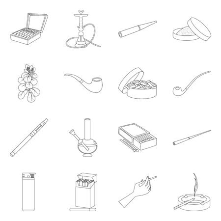 Vector illustration of health and nicotine icon. Set of health and statistics stock symbol for web.