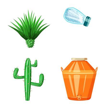 Vector design of Mexico and tequila symbol. Set of Mexico and fiesta stock symbol for web. Ilustração
