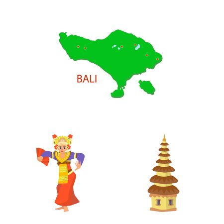 Isolated object of bali and indonesia. Collection of bali and caribbean vector icon for stock.