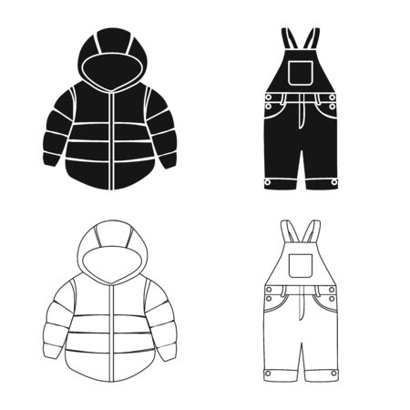 Vector design of fashion and garment. Set of fashion and cotton vector icon for stock.