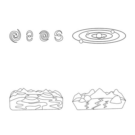Isolated object of space and galaxy sign. Collection of space and travels vector icon for stock. Illusztráció