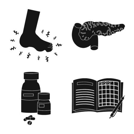 Vector illustration of healthcare and medicine icon. Collection of healthcare and diabetes stock vector illustration.