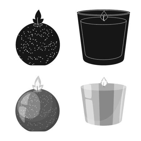 Vector illustration of relaxation and flame. Collection of relaxation and wax stock vector illustration. Illusztráció