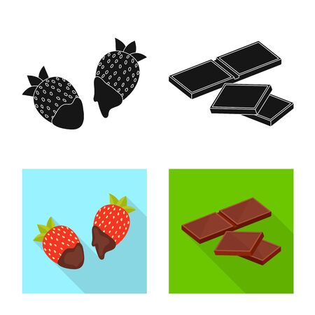 Isolated object of food and yummy. Set of food and brown vector icon for stock.