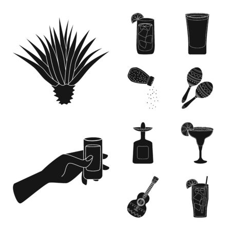 Vector illustration of carnival and national icon. Set of carnival and tequila vector icon for stock. 일러스트