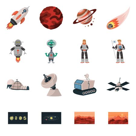 Isolated object of space and galaxy icon. Set of space and travels stock symbol for web.  イラスト・ベクター素材