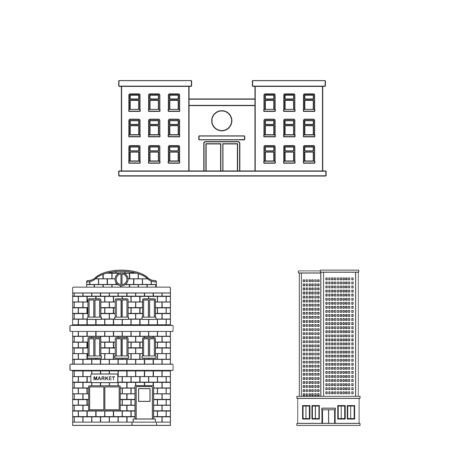 Vector illustration of architecture and exterior sign. Set of architecture and city stock vector illustration.