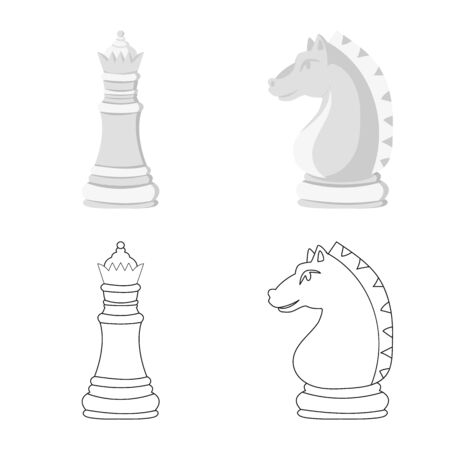 Vector illustration of checkmate and thin sign. Set of checkmate and target stock vector illustration. Ilustracja