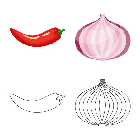 Vector design of taste and product sign. Set of taste and cooking vector icon for stock. Ilustracja