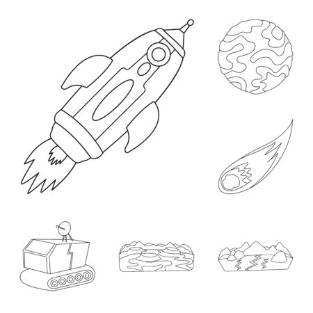 Vector design of space and galaxy sign. Set of space and travels vector icon for stock. Ilustracja